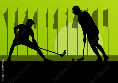 Floorball player vector silhouette background landscape with fla