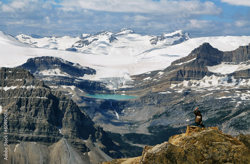 Glacier lake and Bow falls from Cirque peak, Banff national park