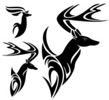 deer head black and white vector design