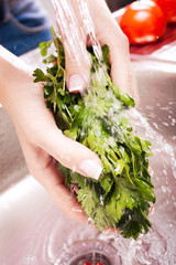 washing fresh vegetables