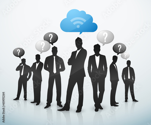 Businessman cloud computing