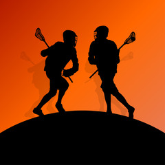 Lacrosse players active men sports silhouettes background illust