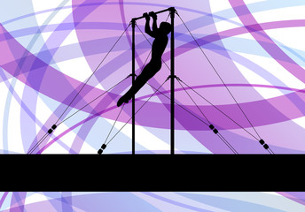 Gymnastics bar silhouette athlete vector abstract background con