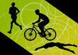 Triathlon marathon active young men swimming cycling and running
