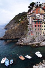 Boats anchored in the Riomaggiore