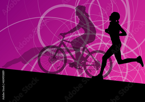Triathlon marathon active young women swimming cycling and runni