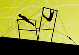 Active children sport silhouettes on uneven bars vector abstract poster