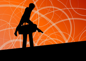 Active children sport silhouette on pommel horse vector abstract