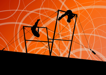 Active children sport silhouettes on uneven bars vector abstract
