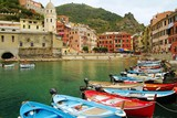 Boats in the marina of Vernazza