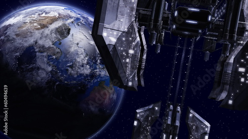 Animation of a space station close to earth