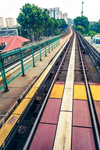 Sky train through the city center in Kuala Lumpur