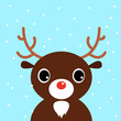 Cute christmas cartoon Deer on blue background