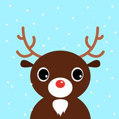 Cute christmas cartoon Deer on blue background
