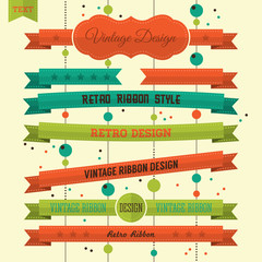 Set of retro banners and ribbons. Vector illustration