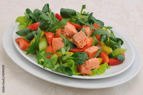 Vegetable salad with salmon