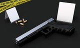 3d generic gun at crime scene with police tape