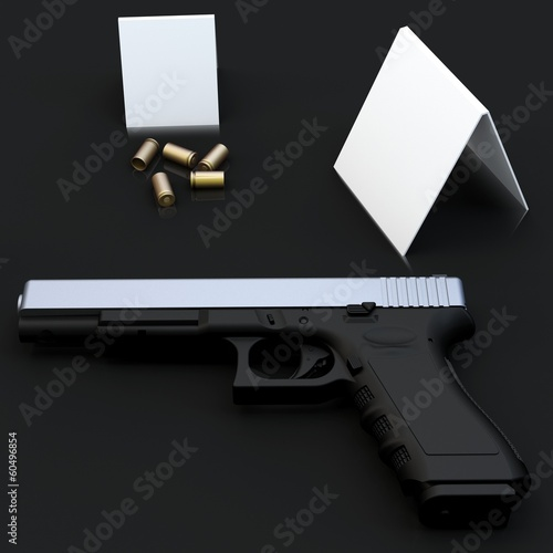 3d generic gun at crime scene