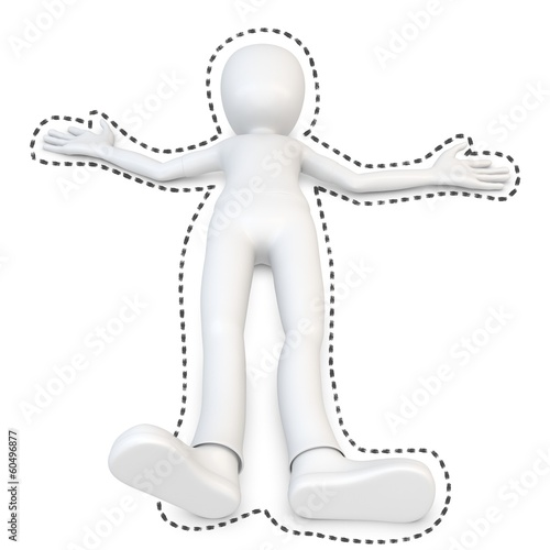 3d man at crime scene with black outline