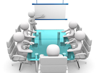 3d white business persons at a workshop