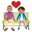 ベンチに座る外国人カップル