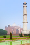 Taj Mahal architectural complex in morning mist