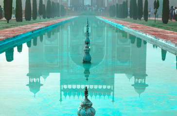 Reflection of Great gate (Darwaza-i rauza) in water
