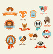 Постер, плакат: Pets vector icons cats and dogs elements
