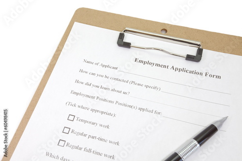 Directly above photograph of a job application