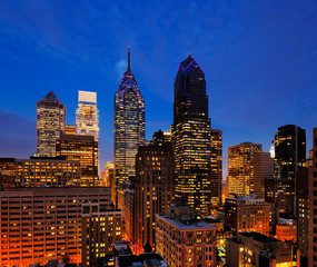 City of Philadelphia, skyline is beautifully lit up at dusk