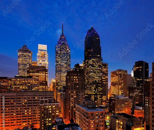 City of Philadelphia, skyline is beautifully lit up at dusk