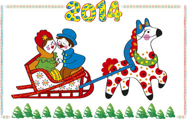 Illustration for new year. Folk art. The horse carries sledge.
