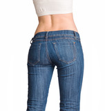 Bottom in jeans isolated in studio poster
