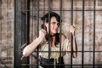 Portrait of Sneering Female Prisoner