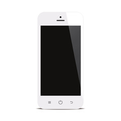 smartphone with black screen on white background