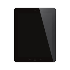 tablet computer with black screen on isolated background
