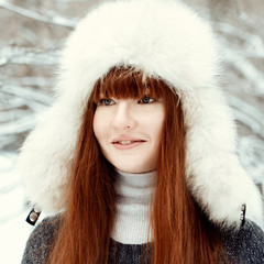 Portrait of beautiful girl in park