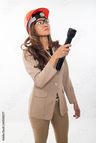 Pretty brunette asian real estate building inspector