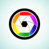 Colorful camera shutter lens, Vector illustration