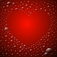 Abstract Red Background. Heart Shaped Waterdrops.