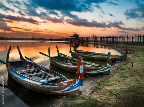.Colorful old boats on a lake in Myanmar
