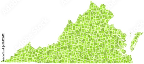 Decorative map of Virginia - USA - in a mosaic of green squares