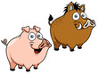 Vector illustration of cartoon pig