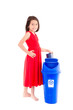 Little Girl with Recycling Bin
