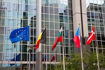 European flags , Brussels