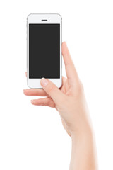 Directly front view of a modern white mobile smart phone in fema