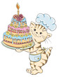 Cartoon cat chef with birthday cake