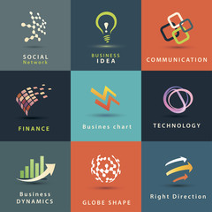 business and technology vector icons set