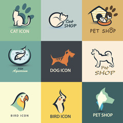 pets vector icons collection