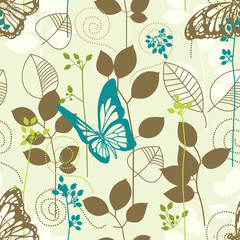 Butterflies and leaves retro seamless pattern
